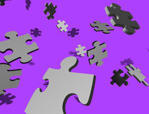 Random puzzle on purple Stock Photo