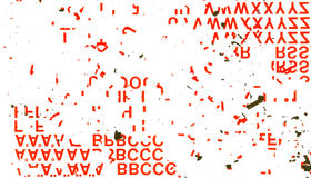 Random Red Letters Scratched and Scattered on White Background Royalty Free Stock Photo