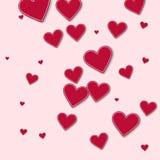Random red paper hearts. Stock Photos