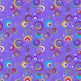 Random retro circle pattern. Random size and colour circle pattern on a mauve background Stock Photos