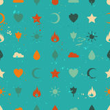 Random retro vintage icons seamless pattern. Flame flower sun tree cloud water drop star heart crescent. Vector background for web page postcards greeting cards Royalty Free Stock Photos