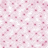 Random seamless pattern pink flowers on a white background. Vintage hand-drawn sketch with daisy
