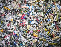 A random selection of word cut out from old magazines. With confetti royalty free stock images