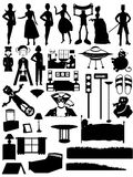 Random silhouettes set, steampunk, people, furnitu. Collection of over 30 silhouetted people, places, and furniture Stock Images