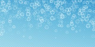 Random soap bubbles abstract background. Blowing b. Ubbles on transparent blue background. Artistic soapy foam overlay template. Eminent vector illustration royalty free illustration