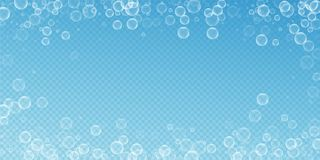 Random soap bubbles abstract background. Blowing b. Ubbles on transparent blue background. Astonishing soapy foam overlay template. Mesmeric vector illustration royalty free illustration