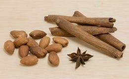 Random Spice on wood background almond cinnamon Star anise Royalty Free Stock Photo