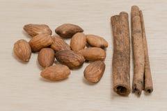 Random Spice on wood background almond cinnamon Star anise Stock Photo
