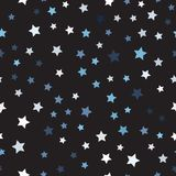 Random star pattern. Seamless vector. Background - blue, gray and white stars on black backdrop vector illustration