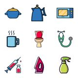 Random Stuff Icon Vector Design Kitchen Utensils, Toilet, Medical Kit, Iron Clothes, Bottle Spray royalty free illustration