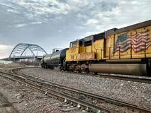 Random trains in Atchison Kansas. Royalty Free Stock Photos