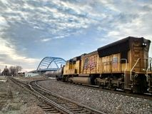 Random trains in Atchison Kansas. Royalty Free Stock Images
