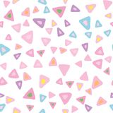 Random triangle seamless pattern on white background. Hand drawn chaotic shapes backdrop. Pastel colors. Vector illustration royalty free illustration