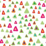 Random triangle shapes seamless pattern on white background. Hand drawn chaotic shapes backdrop. Bright colors. Vector illustration stock illustration
