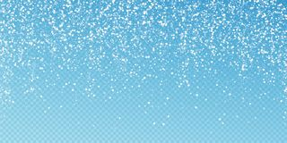 Random white dots Christmas background. Subtle fly. Ing snow flakes and stars on transparent blue background. Actual winter silver snowflake overlay template vector illustration