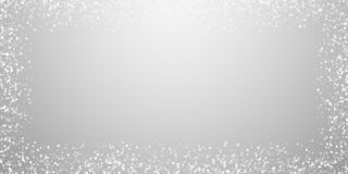 Random white dots Christmas background. Subtle fly. Ing snow flakes and stars on light grey background. Awesome winter silver snowflake overlay template. Posh royalty free illustration