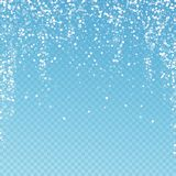 Random white dots Christmas background. Subtle fly. Ing snow flakes and stars on blue transparent background. Admirable winter silver snowflake overlay template vector illustration