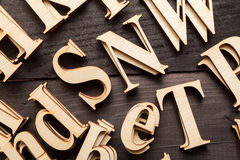 Random Wooden Letterpress Alphabet Royalty Free Stock Photos
