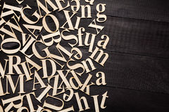 Random Wooden Letterpress Alphabet Royalty Free Stock Photo
