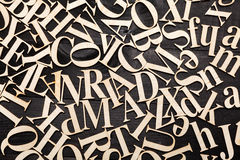 Random Wooden Letterpress Alphabet Stock Photo
