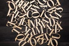 Random Wooden Letterpress Alphabet Stock Image