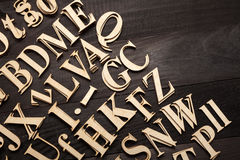 Random Wooden Letterpress Alphabet Royalty Free Stock Photography