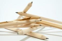 Randomly arranged pencils. A randomly arranged pencils  against white background Stock Photos