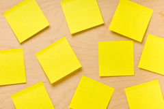 Randomly Arranged Yellow Post-it Collection Stock Photos