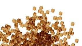 Brown glass blocks randomly positioned in space with white background. Randomly positioned brown cubes in white space. 3D render concept. Material of cubes is Royalty Free Stock Images
