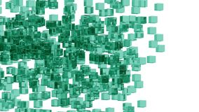 Green glass blocks randomly positioned in space with white background. Randomly positioned green cubes in white space. 3D render concept. Material of cubes is Royalty Free Stock Images