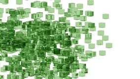 Green glass blocks randomly positioned in space with white background. Randomly positioned green cubes in white space. 3D render concept. Material of cubes is Royalty Free Stock Photo
