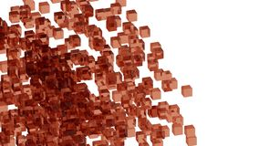 Red glass blocks randomly positioned in space with white background. Randomly positioned red cubes in white space. 3D render concept. Material of cubes is Royalty Free Stock Photos