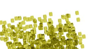 Yellow glass blocks randomly positioned in space with white background. Randomly positioned yellow cubes in white space. 3D render concept. Material of cubes is Stock Photo