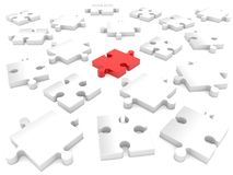 Randomly puzzle pieces in red and white.3d illustration. In backgrounds Royalty Free Stock Image