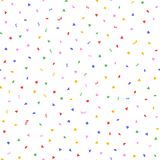 Randomly scattered colorful confetti. Festive seamless pattern. Endless fun print. Colored vector illustration. White, blue, green, yellow, red, purple Stock Images