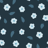 Randomly scattered flowers and leaves. Seamless floral pattern. Drawn by hand. Shades of blue. Vector illustration Stock Images