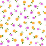 Randomly scattered small flowers with leaves. Colored floral seamless pattern. Cute vector illustration Stock Photography