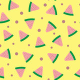 Randomly scattered watermelon slices and points. Colorful seamless pattern. Royalty Free Stock Photography