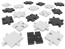Randomly stacked puzzle pieces.3d illustration. Stock Photography