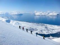 Randonee skiing in Norway Stock Photo