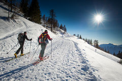 Randonnee ski trails Royalty Free Stock Photography