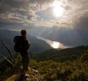 Randonneur alpestre Photographie stock libre de droits