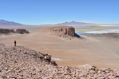 Randonneur aux formations de roche de Salar de Tara au désert d'Atacama, Bolivie Images stock