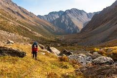 Randonneur détendant aux montagnes, Tien Shan Images libres de droits
