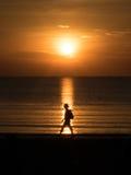 Randonneur de coucher du soleil de plage Images libres de droits
