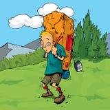 Randonneur de dessin animé dans la forêt Image stock