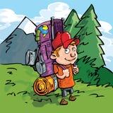 Randonneur de dessin animé dans la forêt Photos stock