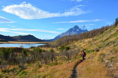 Randonneur de femme en parc national de Torres del Paine, Chili Photos stock