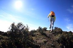 Randonneur de femme trimardant à la belle crête de montagne Image libre de droits