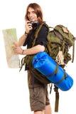 Randonneur de touristes d'homme prenant la photo avec l'appareil-photo Images libres de droits